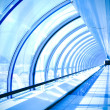Blue glass corridor — Stock Photo