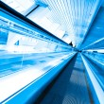 Grey moving escalator — Stock Photo