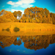 Autumn forest with symmetric reflection in lake — Photo