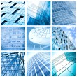Contemporary collage of blue glass architectural buildings — Stock Photo