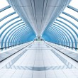 Stock Photo: Endless vanishing walkway with transparent wall in cool business