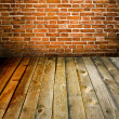 Stock Photo: Abstract brick wall and wood floor