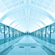 Stock Photo: Symmetric illuminated metro station with marble floor