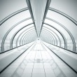 Stock Photo: Black symmetric vanishing corridor with bent wall
