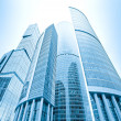 Stock Photo: Perspective view to glass high-rise skyscrapers of Moscow city b