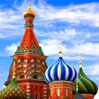 Stock Photo: Domes of the famous Head of St. Basil's Cathedral on Red square,