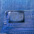 Royalty-Free Stock Photo: Black leather label isolated over denim texture