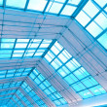 Transparent ceiling inside modern building — Stock Photo