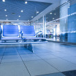 Contemporary blue lounge with seats in the airport — Stockfoto