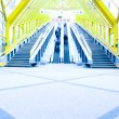 Perspective staircase inside yellow corridor - Stockfoto