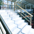 Stock Photo: White marble steps of the perfect business staircase in office center