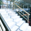 White marble steps of the perfect business staircase in office center - Stock Photo
