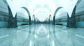 Beautiful hall of metro station with train motion — Stock Photo