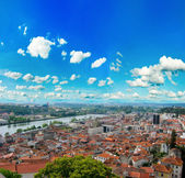 View over the red european roofs — Stock Photo