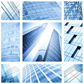 Contemporary collage of blue glass architectural buildings — Stockfoto