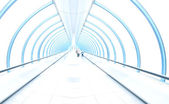 Light corridor in airport with curved glass wall, moving — Stock Photo