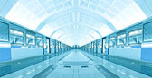 Symmetric illuminated metro station with marble floor — Stock Photo