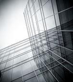 Black texture of glass skyscraper perspective view — Stock Photo