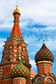 Reddish Head of St. Basil's Cathedral on Red square, Moscow, Russia — Stock Photo