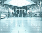 Business light hall with escalators — Stock Photo