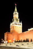 Spassky Tower in Red Square at night in Moscow, Russia — Stock Photo
