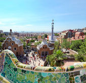 BARCELONA, SPAIN - JULY 25: The famous Park Guell on July 25, 2011 in Barce — ストック写真
