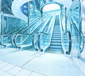 Contemporary moving escalator stairs inside business blue hall — Stock Photo