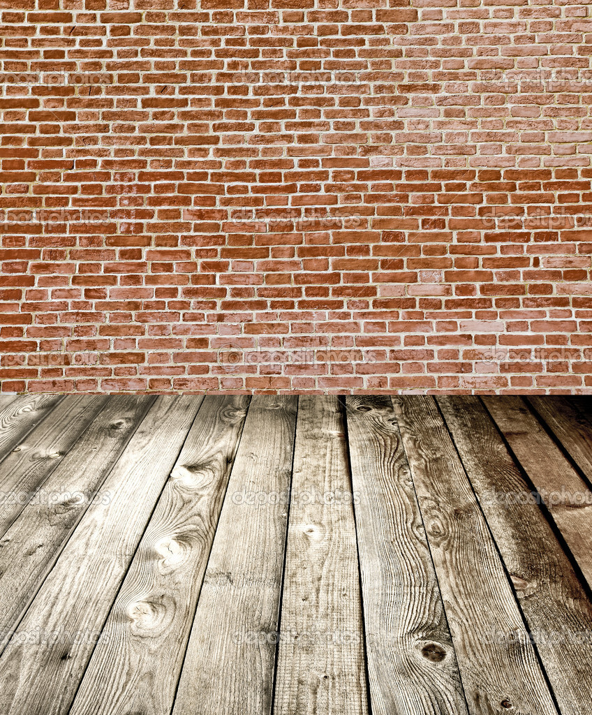 Interior Brick Flooring Pricing : Red brick wall and wooden floor rural interior — stock