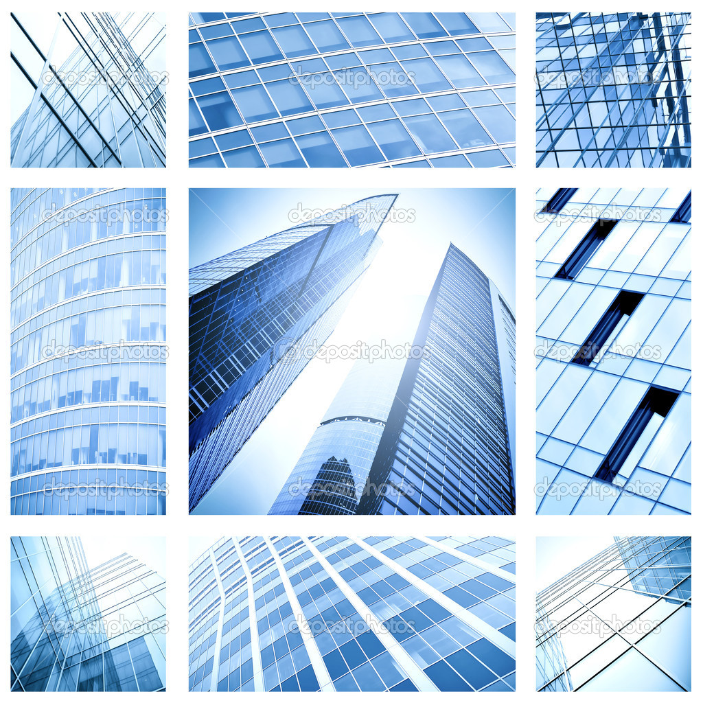 Contemporary collage of blue glass architectural buildings — Stock Photo #6710848