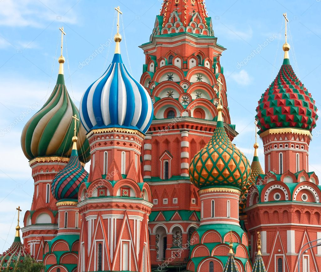 Domes of the famous Head of St. Basil's Cathedral on Red square, Moscow, Russia  Stock Photo #6711398