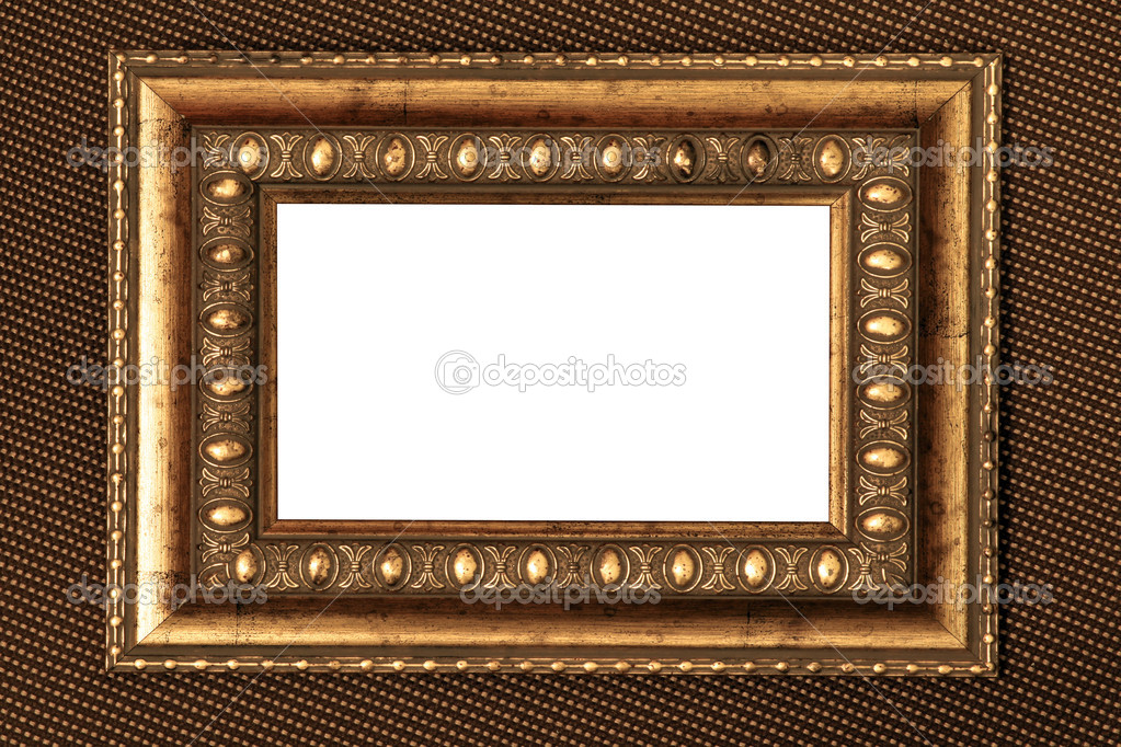 Vintage metal frame with white background over fabric texture — Stock Photo #6712705