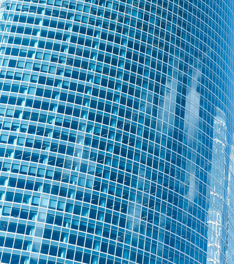 Transparent glass texture of new contemporary building skyscraper — Stock Photo #6713756