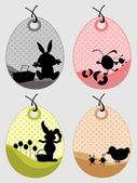 Background with set of four easter tag — Stock Vector