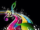 Colorful musical notes with background — Stockvector