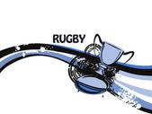Fond grungy avec le rugby et le trophée — Vecteur