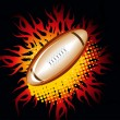 Stockvector : Black background with fiery rugby bal