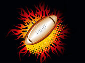 Black background with fiery rugby bal — Stock Vector