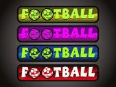 Vector set of four soccer sport header — Stock Vector