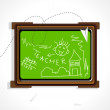 Background with isolated notice board - Imagen vectorial