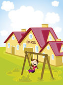 Conceito abstrato escola fundo — Vetor de Stock