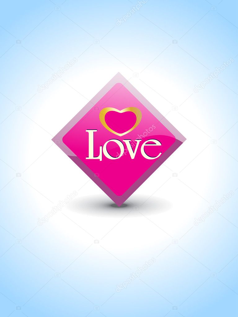 Abstract blue background with isolated love icon, vector illustration — Векторная иллюстрация #5484258
