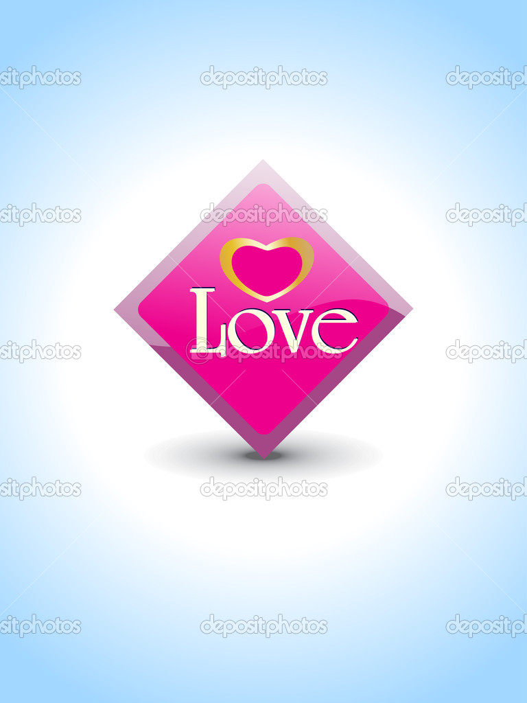 Abstract blue background with isolated love icon, vector illustration — Stockvektor #5484258