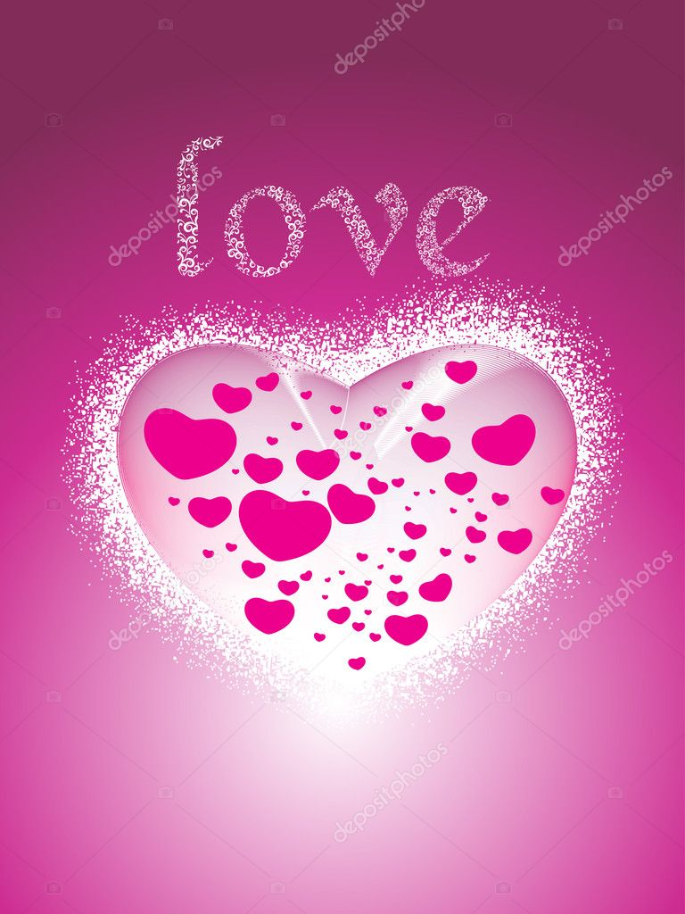 Abstract romantic pink love card, vector illustration  Stock Vector #5484265