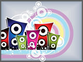 Circle background with colorful speaker — Stock Vector