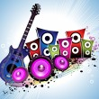 Grungy background with colorul speaker and guitar — Stock Vector #5613412