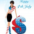 Stock Vector: Illustration for happy 4th july celebration