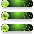 Background with set of three go green header — Stock Vector