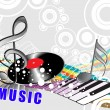 Musical background with vinyl - Stock Vector