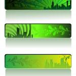 Ector set of three go green banner — Stock Vector