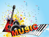 Grungy musical background with musical instrument — Stock Vector